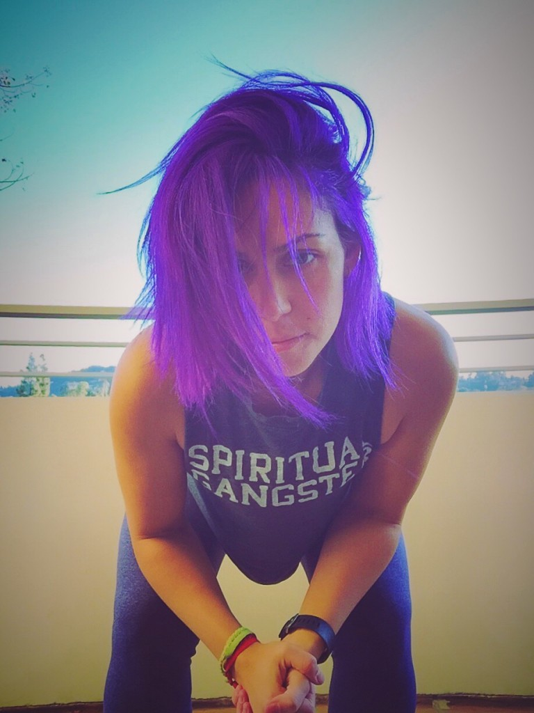 Girl with the purple hair - Arielle Miller Yoga Instructor